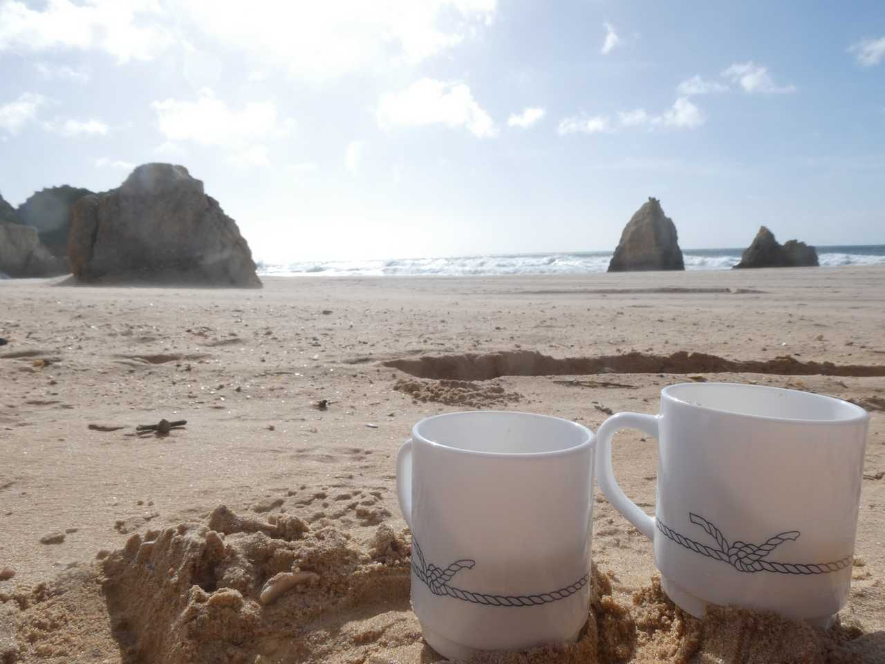 What a start to the day. Coffee on the beach.