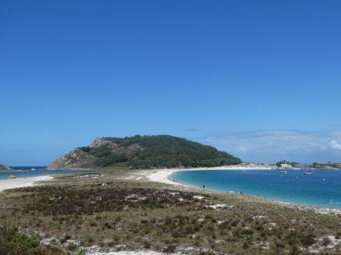 Blue skies, blue seas, white sand.